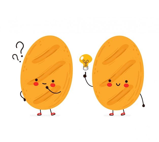 Pão engraçado feliz fofo com ponto de interrogação e lâmpada de ideia. cartoon personagem mão desenho ilustração estilo. isolado no fundo branco
