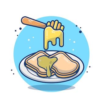 Pão fatiado com geléia de mel e derretido