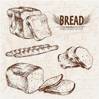 Pão fatiado desenhado a mão