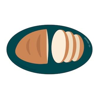Pão fatiado em uma ilustração gráfica de placa