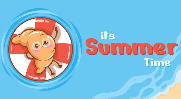 Pão fofo flutuando e relaxando com um banner de saudação de verão