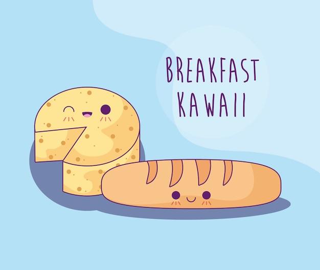 Pão francês com queijo no café da manhã estilo kawaii