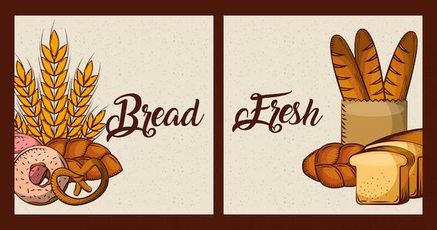 Pão fresco cartões padaria produtos alimentares