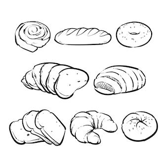 Pão fresco de vetor em um fundo branco