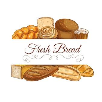Pão fresco e moldura de pastelaria