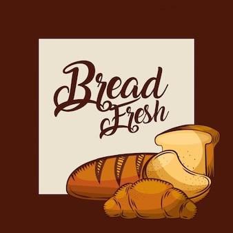 Pão fresco fatiado torrada croissant padaria cartaz