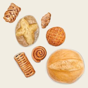 Pão fresco, ilustração desenhada à mão