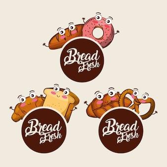 Pão fresco kawaii conjunto comida croissant donut pretzel dos desenhos animados