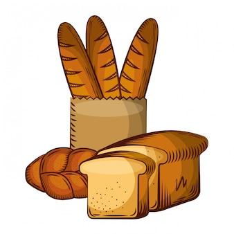 Pão fresco padaria produtos alimentares