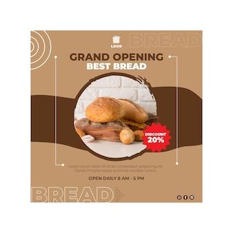 Pão panfleto conceito quadrado