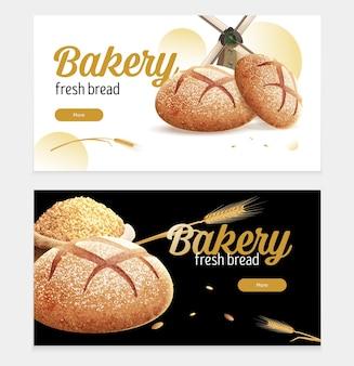 Pão realista com ilustração de dois banners horizontais