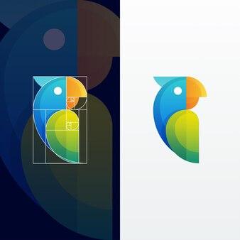 Papagaio abstrato moderno ilustração multicolorida com proporção áurea