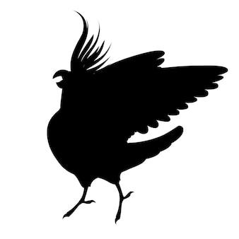 Papagaio adulto silhueta preta de periquito cinza normal olhando para você e batendo sua asa (nymphicus hollandicus, corella) desenho animado pássaro design ilustração em vetor plana isolada no fundo branco.