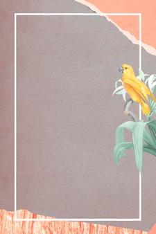 Papagaio amarelo do senegal e lírio branco com vetor de quadro