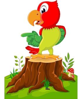 Papagaio bonito dos desenhos animados no coto de árvore