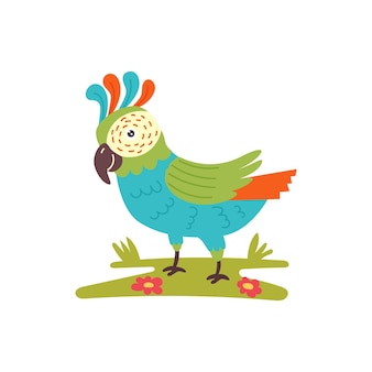 Papagaio brilhante andando na grama verde