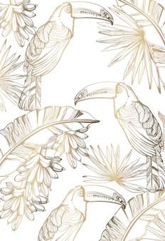 Papagaio cartão dourado linha arte. decoração de folhas de palmeira exótica. cartaz de festa tropical de verão