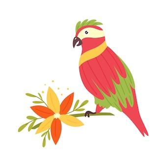 Papagaio colorido sentado flor