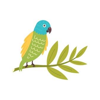 Papagaio colorido sentado no galho