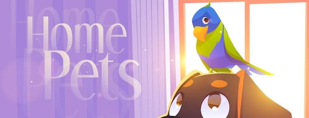 Papagaio com banner de desenho animado de animais domésticos sentado na cabeça do cachorro