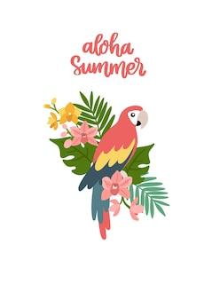 Papagaio com folhas tropicais, orquídeas e frase aloha verão