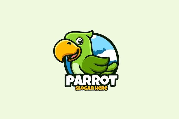 Papagaio com logotipo de desenho animado criativo e moderno