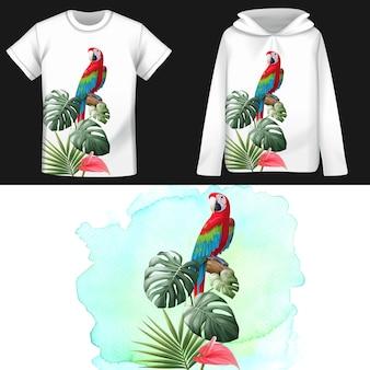 Papagaio de camisa padrão e folhas tropicais