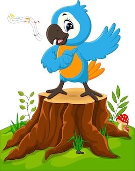 Papagaio de desenho animado cantando no toco de árvore