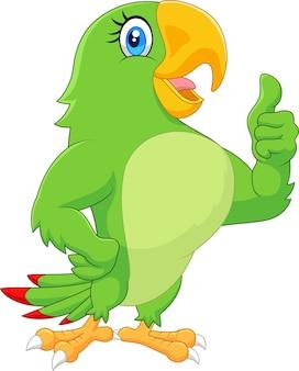 Papagaio de desenho animado dando o polegar para cima