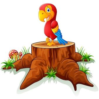 Papagaio de desenho animado no toco de árvore