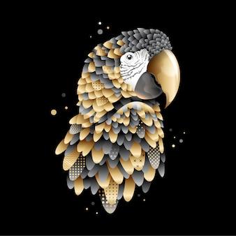 Papagaio dourado gráfico, ilustração do pássaro da arara