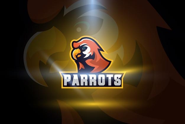 Papagaio esports logo ilustração