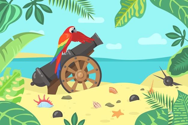 Papagaio exótico de desenho animado sentado em um canhão na praia