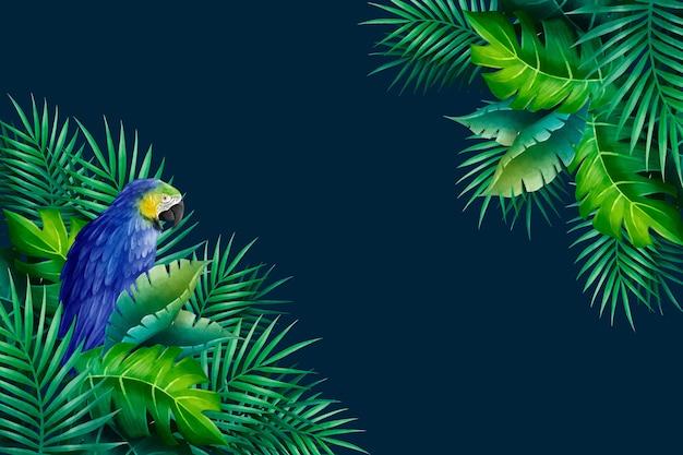 Papagaio exótico e folhas de fundo