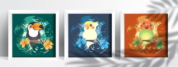 Papagaio fofo com desenho de papel