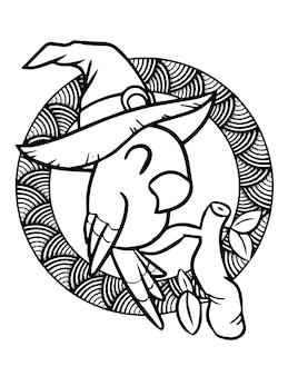 Papagaio kawaii engraçado e fofo nos galhos usando chapéu de bruxa para o halloween - página para colorir