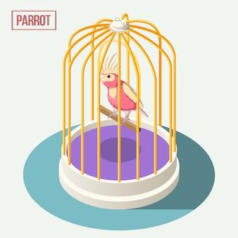 Papagaio na composição isométrica de gaiola