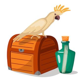 Papagaio piraciano em um baú com uma garrafa de resgate em estilo de desenho animado