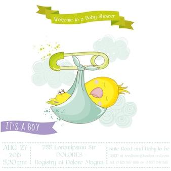 Papagaio recém-nascido bonito. chá de bebê ou cartão de chegada em