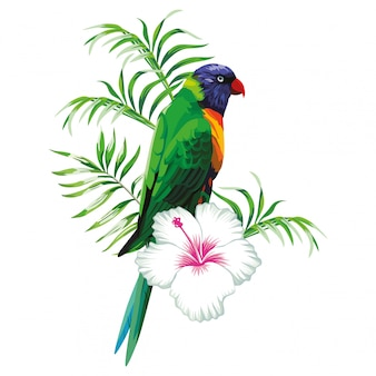 Papagaio verde com plantas