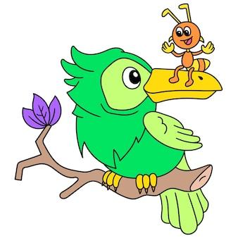 Papagaios e formigas são amigáveis, conversando entre si, doodle desenhar kawaii. arte de ilustração
