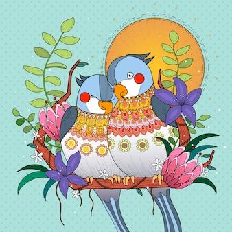 Papagaios se aconchegam uns aos outros no pôr do sol