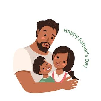 Papai abraça seu filho e filha. família feliz. o homem passa muito tempo com as crianças. dia internacional do pai, dia dos homens. educação e cuidado. ilustração em vetor plana dos desenhos animados em tons pastel