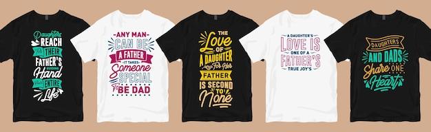 Papai cita o pacote de designs de camisetas com tipografia, coleção de camisetas gráficas com slogan do dia dos pais