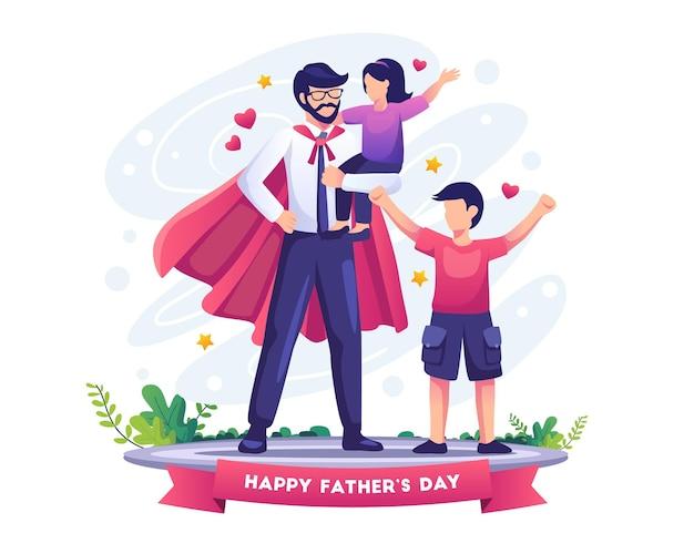 Papai é como um super-herói para seus filhos no dia dos pais. ilustração em vetor plana