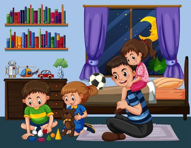 Papai e três crianças no quarto à noite