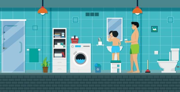 Papai está treinando seu filho para escovar os dentes no banheiro
