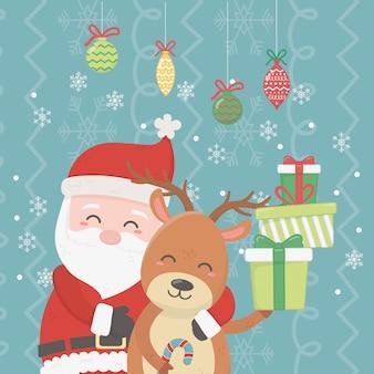 Papai noel abraçando renas, pilha de presentes e ilustração de bolas de suspensão