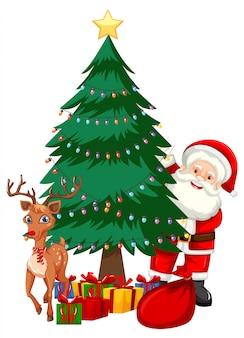 Papai noel ao lado da árvore de natal