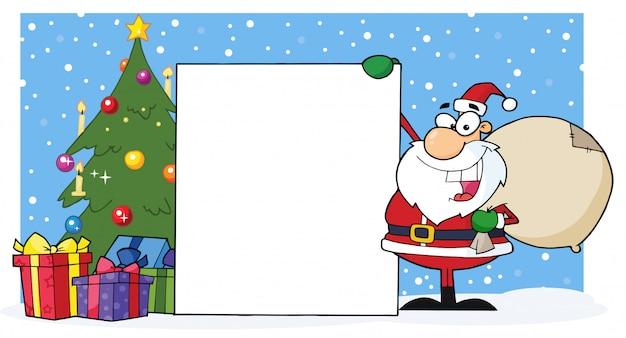 Papai noel, apresentando um sinal em branco e árvore de natal